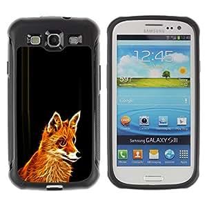 Suave TPU Caso Carcasa de Caucho Funda para Samsung Galaxy S3 I9300 / Glowing Flaming Fox / STRONG