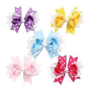Lansheng 10pc White Dot Boutique Windmill Style Hair Bows Girls Baby Alligator Clip Grosgrain Ribbon Headbands