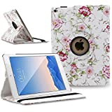 iPad Air 2 Case Cover - TOPCHANCES 360 Degrees Rotating PU Leather Case Smart Cover Stand Tablet Case Support Wake/Sleep Function with Stylus Pen (White Rose Pattern)