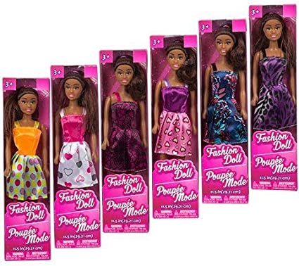 Collectibles Party Favors Supply Gifts Stocking Stuffers 6 Dolls Bundle of 7 African American LJIF Girls Kids Toddlers Child Indoor Play Dress Up Fashion Doll 11 Bonus Ozzy The Unicorn Lipgloss
