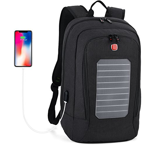 Laptop Backpack, Fanspack Solar Powered Backpack with USB Charging Port Waterproof Oxford Travel Backpack School Daypack for 15.6 inch Laptop and Notebook (Black) by Fanspack