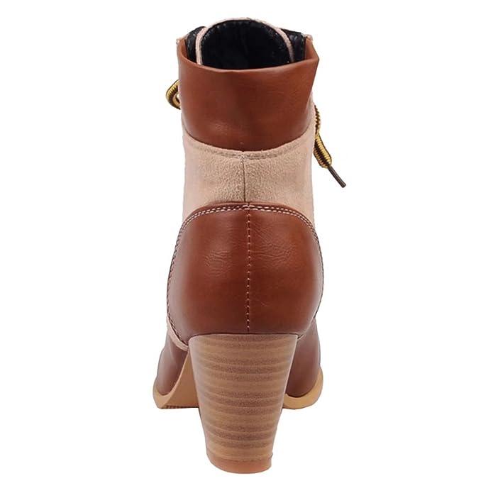 AIYOUMEI Damen Chunky Heel Lace Up Ankle Boots Schnürstiefel mit 7cm Absatz Blockabsatz Gemütlich Klassischer Schnürsenkel Stiefel wBRHdpC