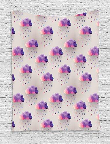 Geometric Decor Tapestry Wall Hanging by Ambesonne, Retro Decor Triangle Pattern Geometric Art Mosaic Rain Drops on Polka Dots Print, Bedroom Living Room Dorm Decor, 60 x 80 Inches, Purple Grey - Polka Hanging Dots Wall