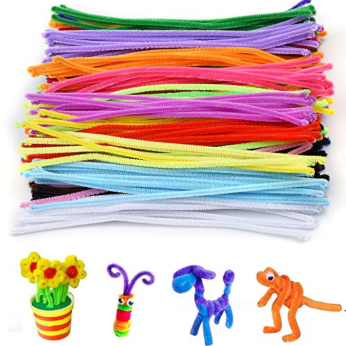 Onepine Pipe Cleaners for Crafts 200Pcs 20 Colors Chenille Stems for DIY Art Decorations (6 mm x 12 inch) -