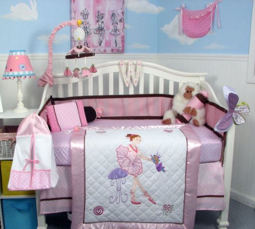 SoHo Ballet Dream Baby Crib Nursery Bedding Set 13 pcs included Diaper Bag with Changing Pad & Bottle Case