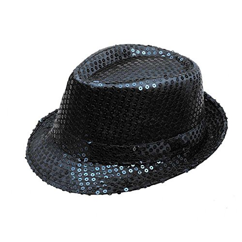 Sequined Fedoral Hat,Crytech Sparkly Glamorous Retro Diso Funky Glitter Costume Unisex Party Props Favor Novelty Accessory Dance Stage Show Performance Jazz Cap for Women Men Magician (Black)