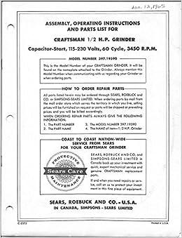 Magnificent 1966 Craftsman 397 19590 Bench Grinder Operating Beatyapartments Chair Design Images Beatyapartmentscom