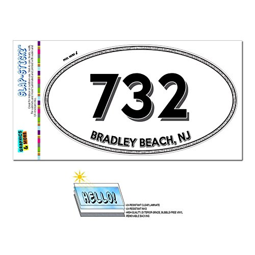 Area Code Oval Window Laminated Sticker 732 New Jersey NJ Adelphia - Middlesex - Bradley Beach