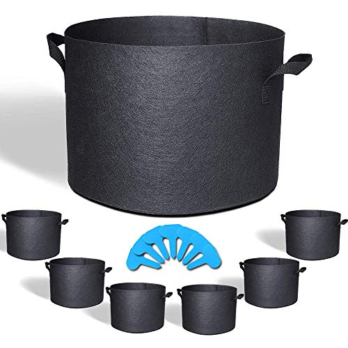 EACHON 7 Gallon 7-Pack Fabric Grow Pots Planting Pots Non-Woven Fabric Planter for Gardening with Handles Black