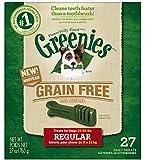 GREENIES Grain Free Dental Dog Treats, Regular, 27 Treats, 27 oz.