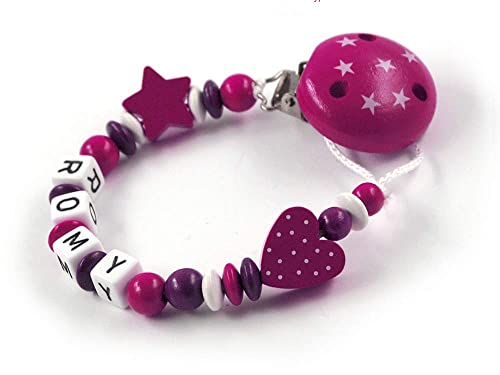 Sterne Schnullerkette mit Namen M/ädchen Holz rosa grau wei/ß Buchstaben Taufgeschenk personalisiert Baby Geburt Geschenk