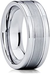 Tungsten Wedding Band Brushed Polished Men's Tungsten Ring Anniversary Band 8mm Size 5-15 Lifetime Warranty