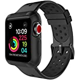 Marge Plus for Apple Watch Band 42mm with Case, Shock-proof and Protective Case with Soft Breathable Sport iWatch Band for Apple Watch Series 3/2/1 Nike+ Sport Edition 42mm - Black
