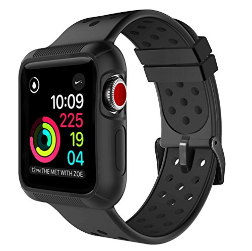 Compatible with Apple Watch Band with Case 42mm,Marge Plus Shock-Proof and Anti-Scratch with Soft Breathable Sport Band Compatible with 42mm Apple Watch Band - Black