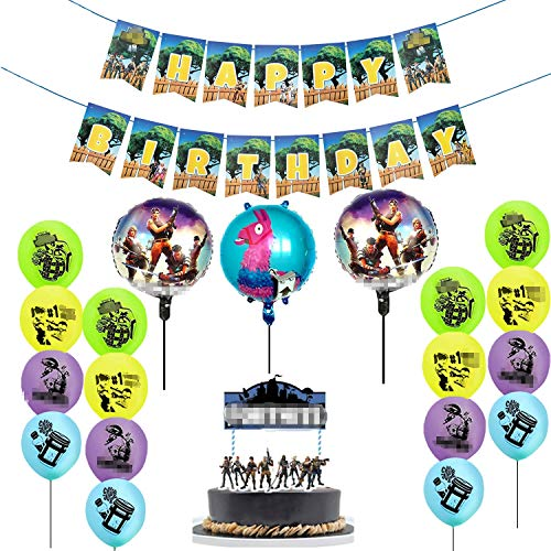 25 Pack Gaming Party Supplies Set,16 Latex Party Balloons and 3 Foil Balloons,Video Game birthday Banner decorations and Birthday Cake Topper for Kids Battle Royale Gamer Decorations ()