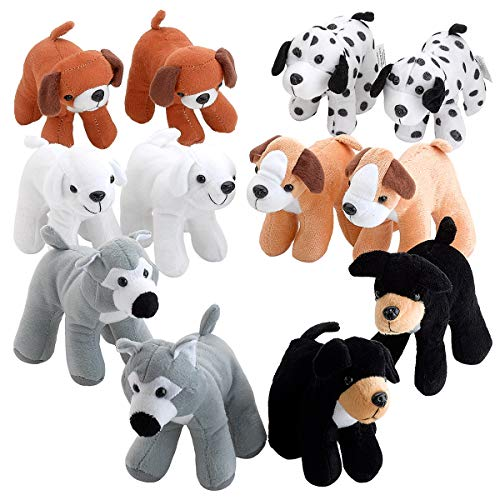 Plush Blanket Playful Puppy - Puppy Dogs Pals Plush - Pack of 12 5.5 Inches Tall Assorted Stuffed Animals - Cute Dog Puppies Assortment for Children Party Decors, Nighttime Stories Accessory, Educational Game