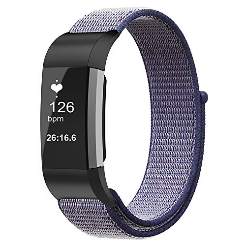 For Fitbit Charge 2 Band, Fintie Nylon Sport Loop Breathable Nylon Replacement Strap Wrist bands with Adjustable Closure for Fitbit Charge 2 HR Smart Fitness Tracker, Midnight Blue by Fintie