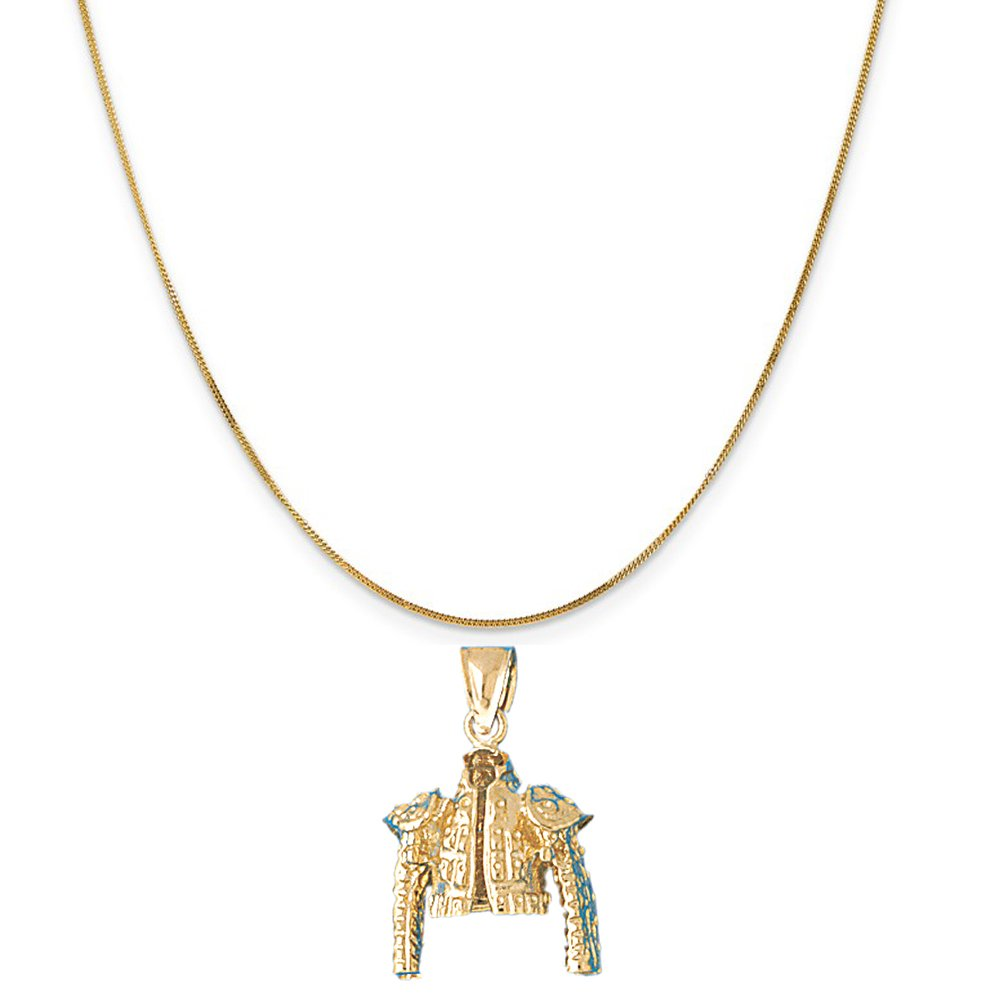 14k Yellow Gold Matador Jacket Pendant on a 14K Yellow Gold Curb Chain Necklace, 16'' by Eaton Creek Collection