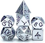 cusdie Metal Dice with Metal Box, 7 PCs DND Dice, Polyhedral Dice Set with Dragon Font, for Role Playing Game