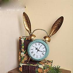 American Village Retro Iron Iron Rabbit Ear Strip Decoration Living Room Restaurant Fashion Casual Desktop Clock