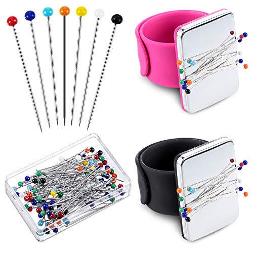 2 Pieces Magnetic Sewing Pincushion Wrist Magnetic Pin Holder with 100 Pieces Colorful Sewing Pins Glass Headed Pins for Quilting Sewing Embroidery Supplies