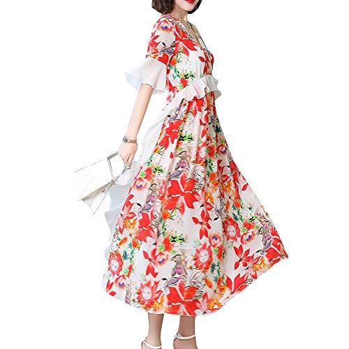 Abendkleid Cocktail Damen Seide Midi E Gestreift Kleider girl S1818 Weiß Übergröße Kleid OqxwAvFX