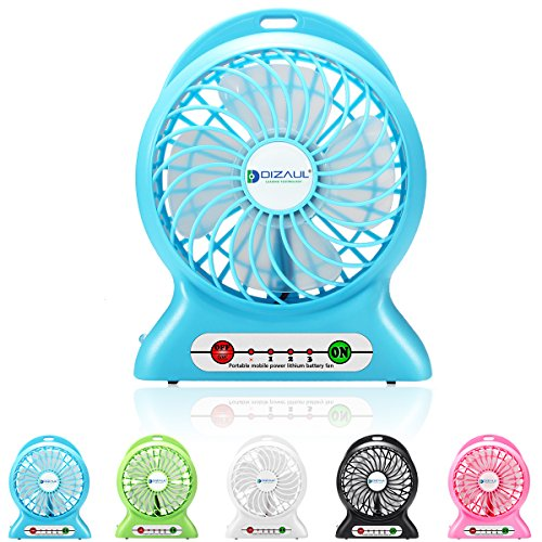 Rechargeable Mini Electric USB Fan Portable with LED Light (Blue) - 9