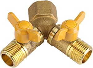 Vobor Tap Adapter - G1/2 Y Type 2 Way Double Tap,Brass Adapter Distributor ,Dual Faucet Connector for Garden Irrigation Tool,hose faucet adapter with 2 valves