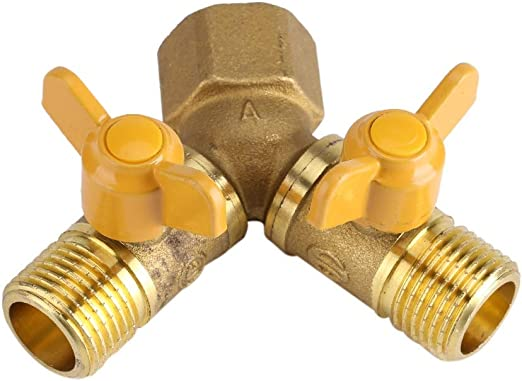 G1//2 Y Type 2 Way Double Tap,Brass Garden Irrigation Tool,2 Way Double Tap Hose Adapter Dual Faucet Connector Vobor Tap Adapter