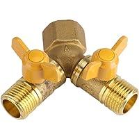 AIGGEND Adaptador para Conector de Grifo, Conector de Grifo Doble para Manguera de Doble Llave para irrigación de jardín de latón para Servicio Pesado (G1 / 2)