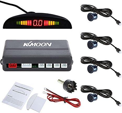 KKmoon - Sistema de sensores de aparcamiento para coche con luz LED de marcha atrás, con pantalla retroiluminada y 4 sensores azul oscuro
