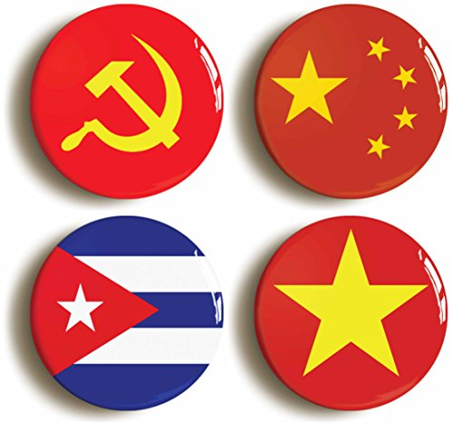 [Communist Flag Button Pin Set (Size Is 1inch Diameter) USSR China Vietnam Cuba] (Communist China Costume)