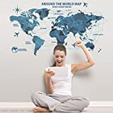 gogil Vinyl Science and Technology World Map Wall Decorations Living Room Roomsticker Bedroom Wall Art Room Furniture Wall Sticker