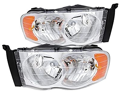 Replacement Front Chrome Housing Headlights With Amber Reflectors For Dodge Ram Trucks