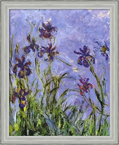 Canvas Art Framed 'Irises (Detail)' by Claude Monet: Outer Size 23 x 28 ()