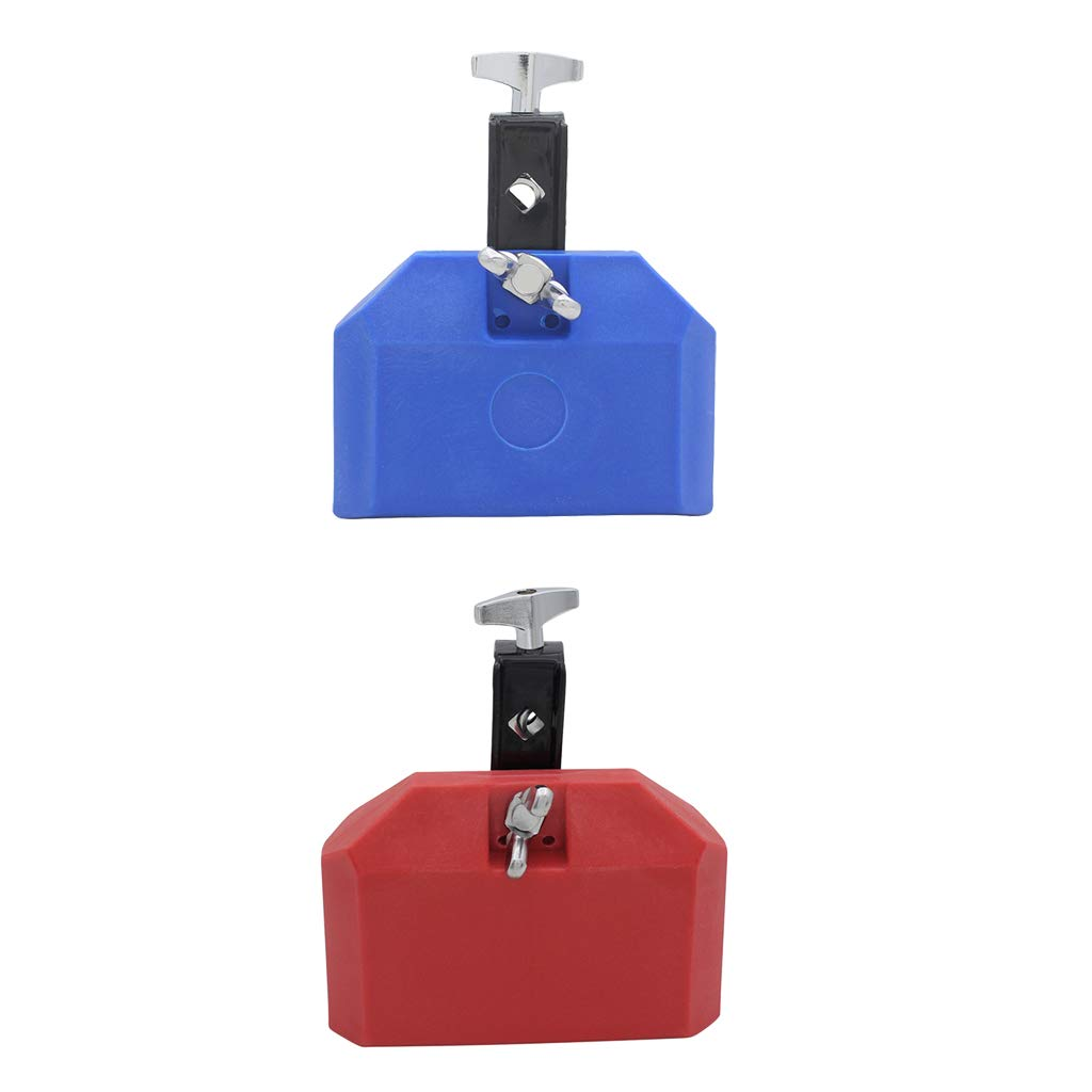 Baosity Portable 2Pcs Plastic Cow Bell with Sticks Mallets Musical Instrument for Cowbell Holder Stand Red & Blue