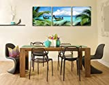 Canvas-Print-Wall-Art-Painting-For-Home-Decor-Tropical-Seascape-Blue-Sandy-Beach-Palm-Trees-Long-Tail-Boats-Maya-Bay-Thailand-3-Pieces-Panel-Picture-Modern-Giclee-Stretched-Framed-Artwork-Photo-Prints