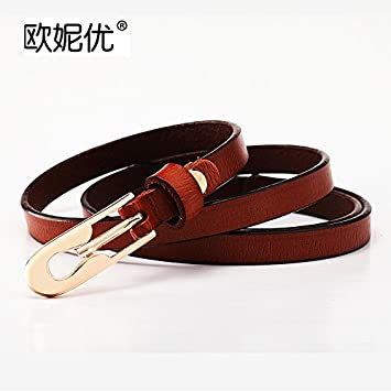 NSSS*El fino cinturón de cuero verano mujer decoración salvaje la Sra. Correa de cuero casual falda pantalón con hebilla con marrón blanco ,105cm ,