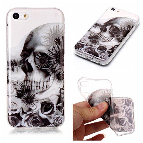 """Hülle iPhone 6 Plus / 6S Plus , LH Schwarze Blumen Geister TPU Weich Muschel Tasche Schutzhülle Silikon Handyhülle Schale Cover Case Gehäuse für Apple iPhone 6 Plus / 6S Plus 5.5"""""""