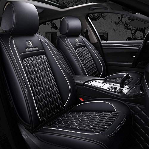 (Mopow Car seat Covers Full Set 2019 New(Soft to Touch) with Universal 5-Seats Breathable Skin-Friendly Luxury PU Leather Seats Protection Mat(19-WH))