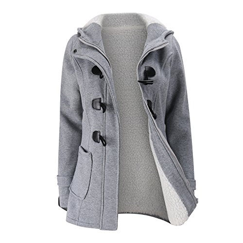 Elonglin Womens Duffle Coat Coton Fleece Trench Coat Winter Casual Hooded Horn Buttons Peacoat with Villi Lining Pockets Fashion Thick Toggle Coat Snowsuit Outerwear Hoodie Warm Size US L Grey