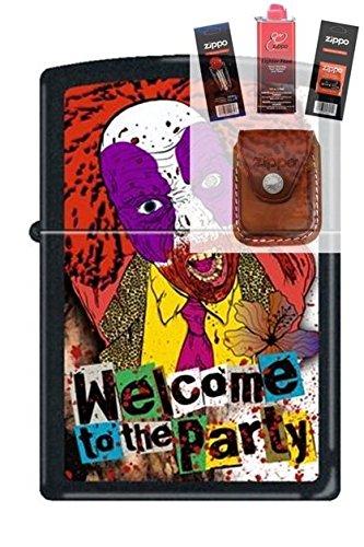 Zippo 218 Evil Clown Welcome Party Lighter + Fuel Flint Wick Pouch Gift Set (Evil Clown Lighter)