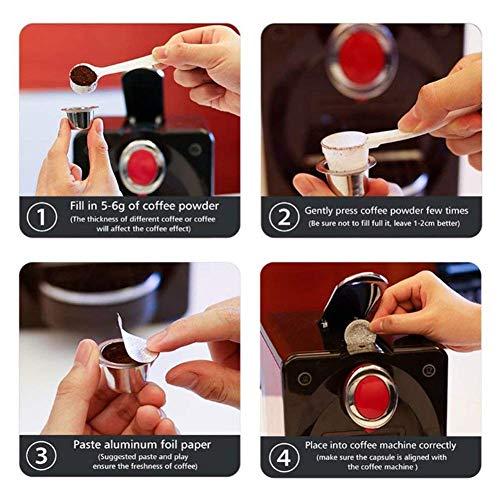 Wadoy - Juego de 120 cápsulas de café reutilizables para cafeteras Nespresso de acero inoxidable, autoadhesivas, con cepillo, cuchara para máquinas de café: ...