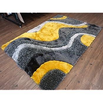 Alfombra Color Gris Combinado con Amarillo hecha a mano estilo moderno suave y lujosa , gruesa pila de tamaño 60