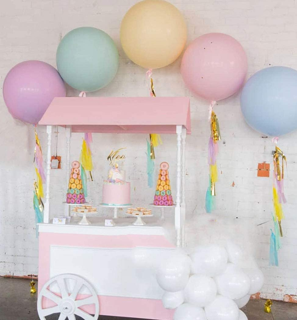 Beaumode 36 Inch Pastel Jumbo Balloons 5pcs Huge Ballloons for Photo Shoot Wedding Decor Baby Shower Bridal Shower Birthday Party Centrepiece Decor