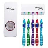 Native Spring Toothpaste Dispenser and Toothbrush Holder White