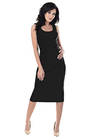 b6ee39a15f Purpless Maternity Sleeveless Jersey Ruched Pregnancy Woman Midi Dress 8130  (4