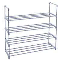 SONGMICS 4-Tier Shoe Rack Shoe Metal Tower Shelf Storage Organizer Cabinet