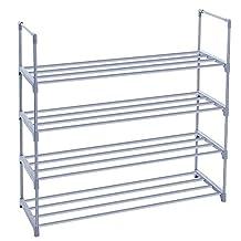 SONGMICS 4-Tier Shoe Rack Shoe Tower Shelf Storage Organizer Cabinet Grey ULSA14G