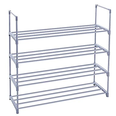 SONGMICS 4-Tier Shoe Rack Shoe Tower Shelf Storage Organizer Cabinet Grey ULSA14G